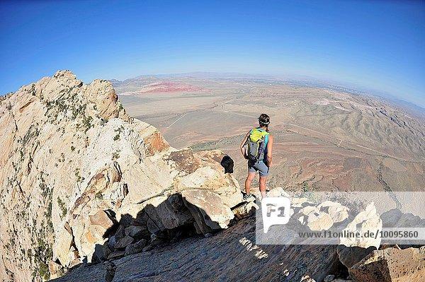 Rückansicht einer jungen Bergsteigerin mit Blick vom Gipfel des Mount Wilson  Nevada  USA