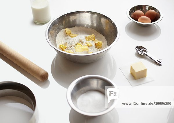 Baking preparation with flour  butter and eggs