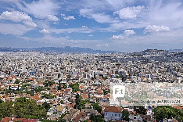 Ausblick von der Akropolis auf Athen  Griechenland  Europa