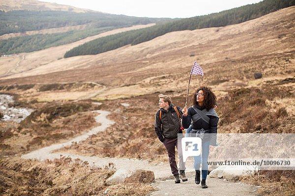 Family hiking  Fairy Pools  Isle of Skye  Hebrides  Scotland
