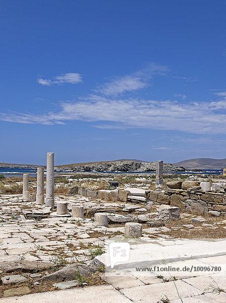 Ruinen der antiken Stadt Delos  Insel Delos  Kykladen  Ägäis  Griechenland  Europa