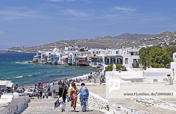 Ausblick auf Klein-Venedig  Mykonos-Stadt  Mykonos  Kykladen  Griechenland  Europa