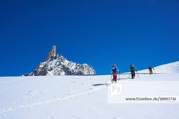 Rückansicht von drei Skifahrern  die das Mont-Blanc-Massiv erklimmen  Graian Alps  Frankreich