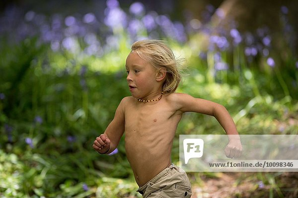 Young boy running through bluebell forest