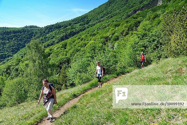 Drei reife Wanderer beim Wandern entlang des Bergweges  Grigna  Lecco  Lombardei  Italien