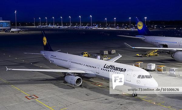 Ein Airbus A321-100  D-AIRL  der Lufthansa am Terminal 2 am Flughafen München  Oberbayern  Bayern  Deutschland  Europa