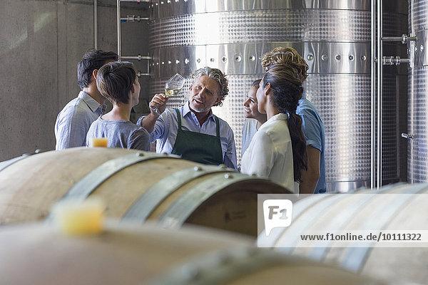 Winzer und Weingutmitarbeiter bei der Weinuntersuchung im Keller