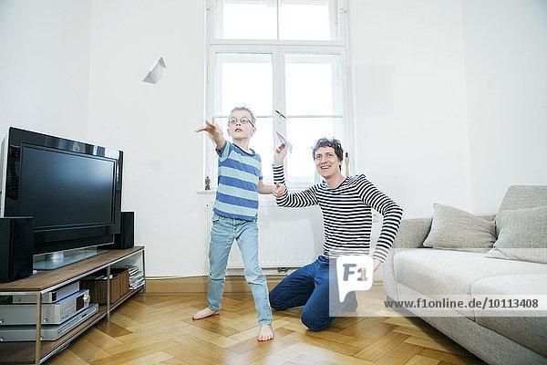 Flugzeug Papier Menschlicher Vater Sohn Spaß