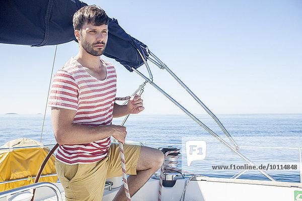 Mann Meer Ignoranz jung Adriatisches Meer Adria