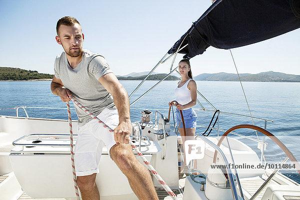Mann drehen Adriatisches Meer Adria