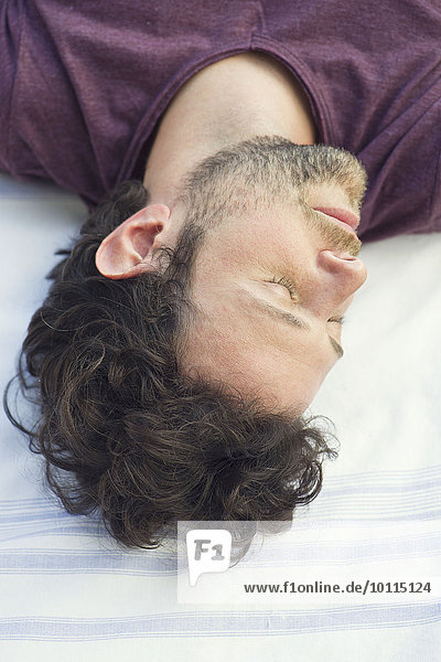 Man napping outdoors