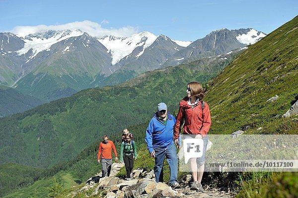 Wandergruppe  North Face Trail  Alyeska Prince Hotel  Alyeska Resort  sieben Gletscher  Winner Creek Valley  Turnagain Arm  Mt. Alyeska  Girdwood  Alaska  USA