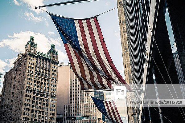 View of buildings and American flags  Manhattan  New York  USA