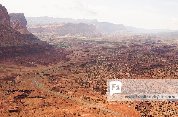 High angle view of distant rural road in valley  Capitol Reef National Park  Torrey  Utah  USA