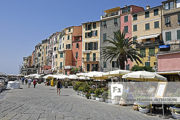 Uferpromenade  Porto Venere  Portovenere  Provinz La Spezia  Ligurien  Italien  Europa