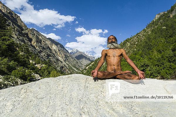 Mahant Naomi Giri  52 Jahre  Sadhu  im Lotussitz  padmasana  auf einem Felsen am Ufer des heiligen Flusses Ganges  bei der Meditation  Gangotri  Uttarakhand  Indien  Asien