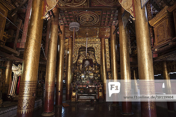 nahe Berg Dorf Figur blass Myanmar Asien Buddha Kloster