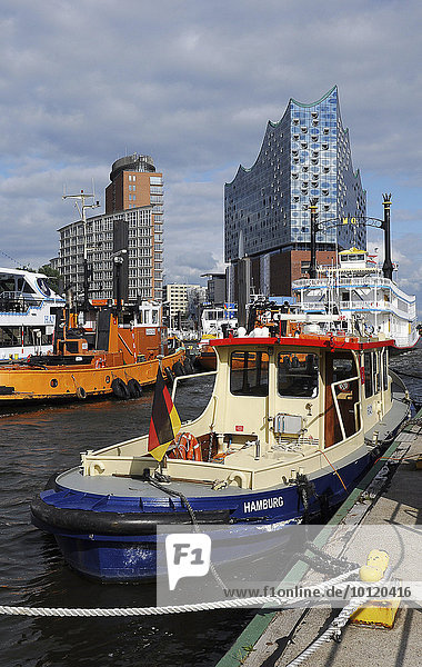 Port of Hamburg  overlooking the Kehrwiederspitze with Elbe Philharmonic Hall  Hamburg  Germany  Europe