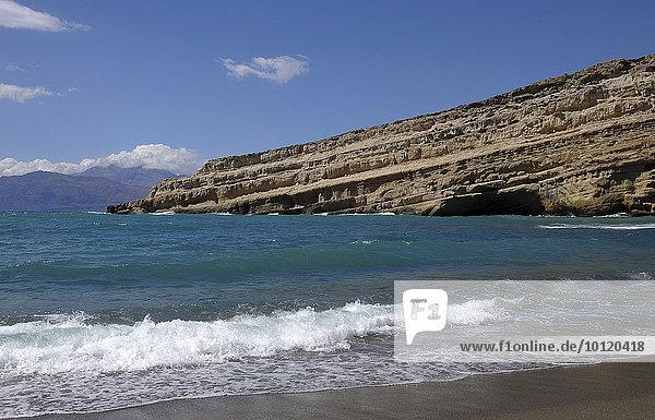 Felsen am Strand von Matala  Südküste  Kreta  Griechenland  Europa