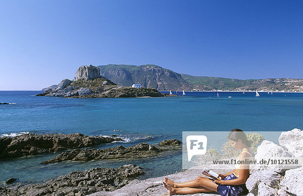 Blick von Agios Stefanos auf Nisi Kastri  Kos  Dodekanes  Griechenland  Europa