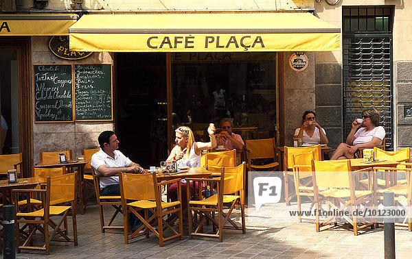 Straßencafé in Palma de Mallorca  Balearen  Spanien  Europa