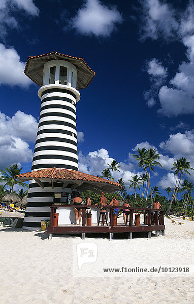 Strandbar am Palmenstrand in Bayahibe  Dominikanische Republik  Karibik  Nordamerika