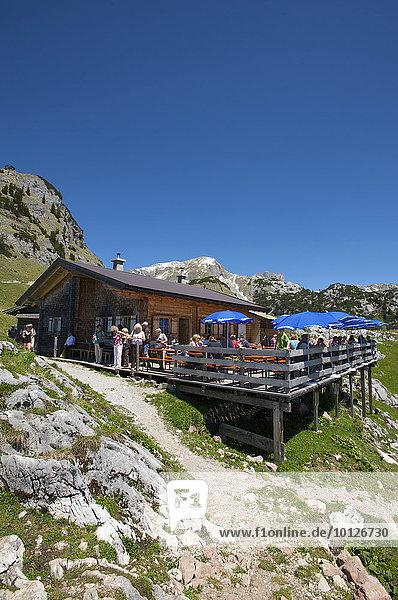 Berghütte unterhalb des Gschöllkopfes im Rofangebirge am Achensee  Tirol  Österreich  Europa