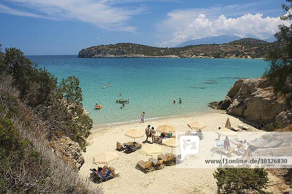 Strand an der Mirambellou Bucht  bei Agios Nikolaos  Kreta  Griechenland  Europa