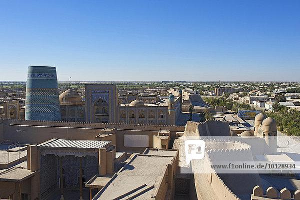 Kalta Minor minaret  historic centre  Itchan Kala  Khiva  Uzbekistan  Asia