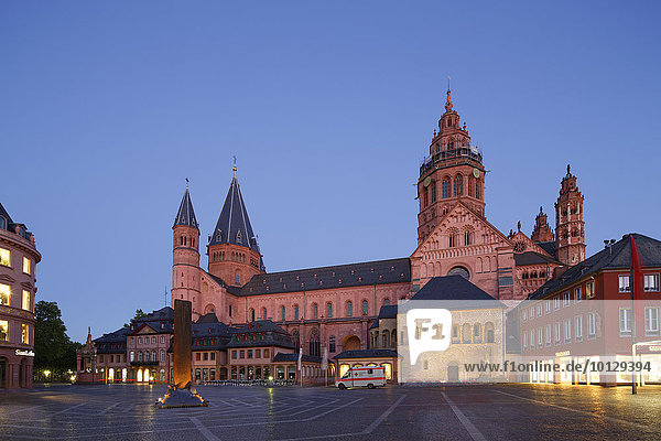 Mainz Cathedral or St. Martin's Cathedral and Heunensäule victory column  market square  Mainz  Rhineland-Palatinate  Germany  Europe