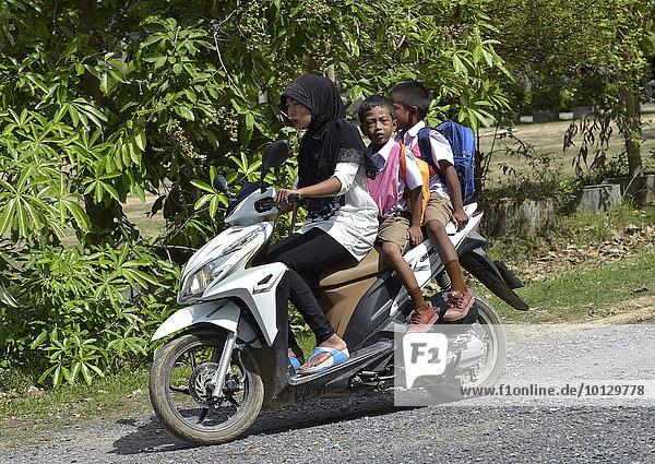 Frau mit Kopftuch mit zwei Schulkindern auf einem Motorroller  Koh Samui  Thailand  Asien