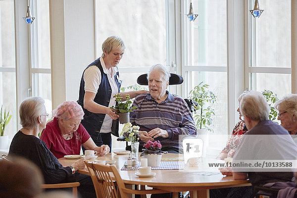 Senior Senioren Mensch Menschen Wohnhaus Fürsorglichkeit Kaffee
