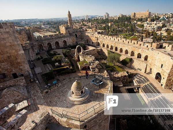 The Tower of David or Jerusalem Citadel  archeological garden  Old City  Jerusalem  Israel.