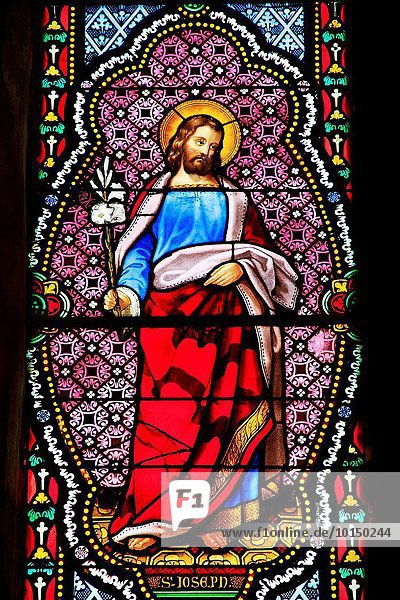 Stained glass representing Joseph in the church of Saint Pourcain sur Sioule  Allier  Auvergne  France.