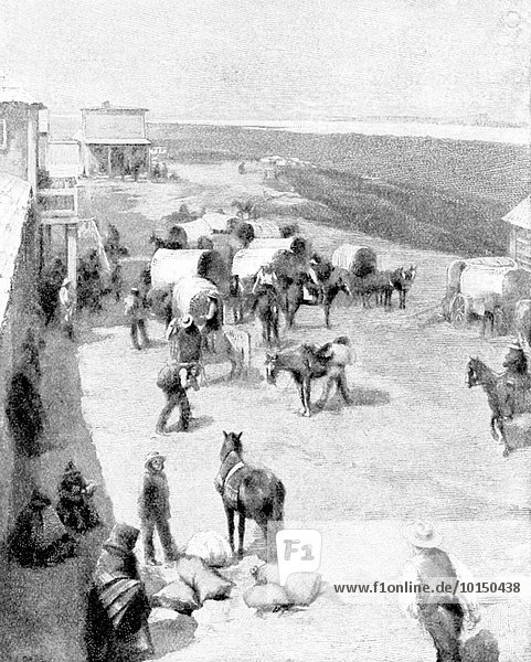 This 1896 illustration shows the Indian Traders' Store at Standing Rock  Dakota. It is based on a photo by American photographer David Frances Barry. The people of Standing Rock  a reservation in North and south Dakota are often called Sioux and are members of the Lakota and Dakota nations.