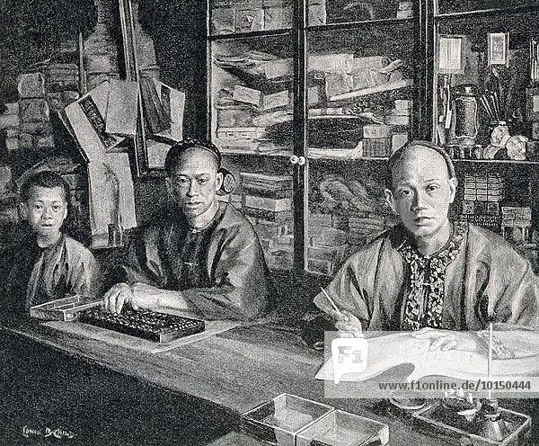 This 1896 illustration shows two Chinese accountants and a young apprentice in San Francisco's Chinatown at the time. Note the abacus the accountant on the left is using. It is based on a photograph by California photographer I.W. Taber (1830-1912).