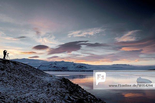 Winter See Jökulsárlón Island