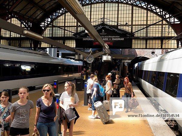 Dänemark Zug Kopenhagen Hauptstadt Mittelpunkt Haltestelle Haltepunkt Station