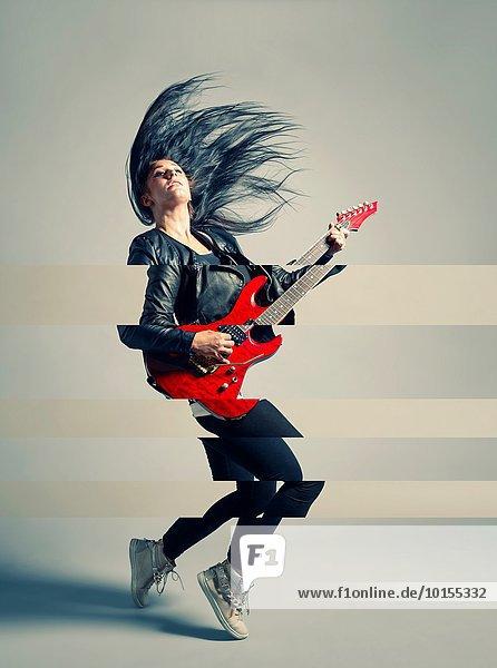 Studioaufnahme Frau Gitarre Elektrische Energie