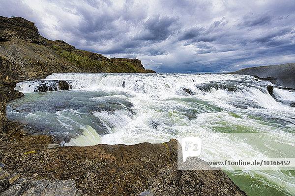 Gullfoss Waterfall  River Hvita  Haukadalur  Iceland  Europe
