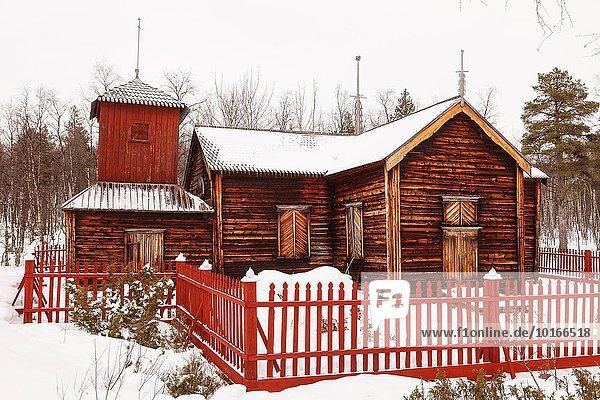 Europa See Kirche Finnland Lappland