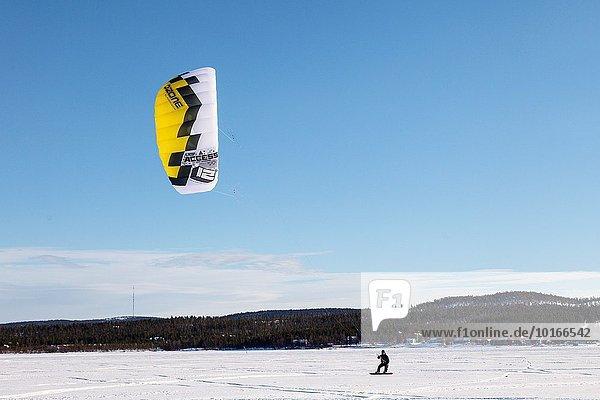 Europa Himmel See Finnland Lappland Schnee