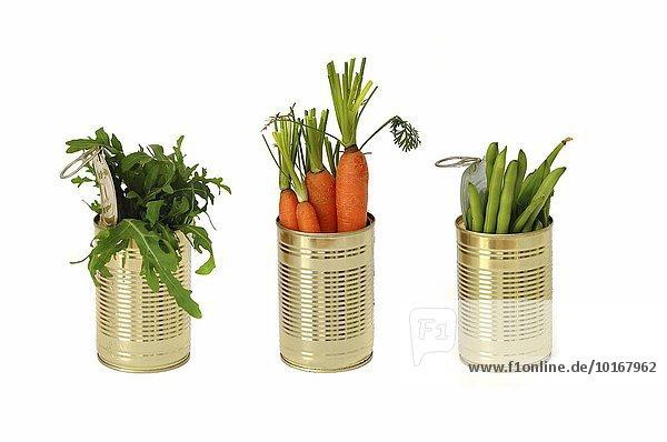 Drei Konservendosen mit Karotten  grünen Bohnen und Rucola