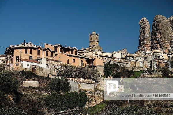 Anordnung Hintergrund Dorf Aragonien Huesca Spanien