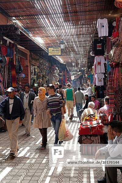 Shopping in the Souk in the medina of Marrakesh  Morocco.