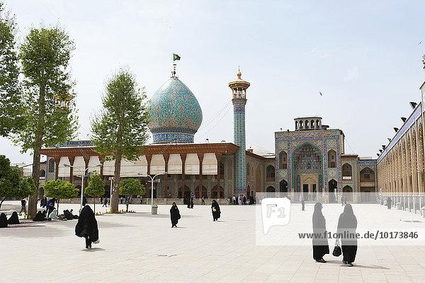 Frauen im Tschador auf dem Platz vor Schah Tscheragh oder Shah Cheragh Mausoleum und Moschee  Schiras oder Shiraz  Iran