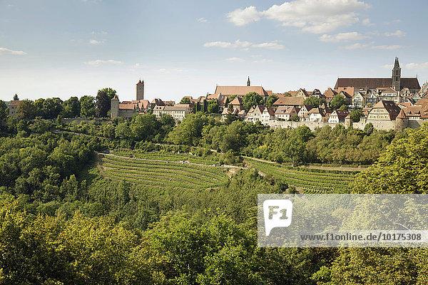 Ausblick über die Stadt  Rothenburg ob der Tauber  Franken  Bayern  Deutschland  Europa