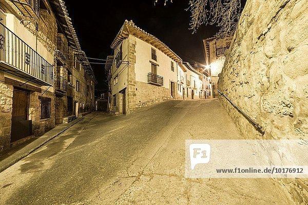 Tradition Nacht Architektur Dorf Aragonien Stadtverwaltung Spanien