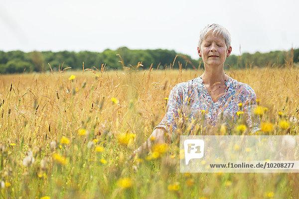 Ländliches Motiv,ländliche Motive,Senior,Senioren,Frau,Feld,Meditation