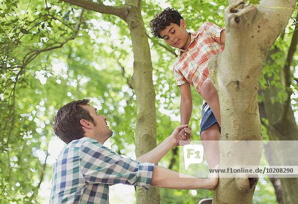 Vater hilft Sohn beim Baumklettern